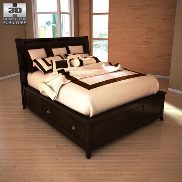 Delightful Ashley Martini Suite Queen Panel Headboard Bed 3d Model Max Obj 3ds Fbx Mtl  1 ...
