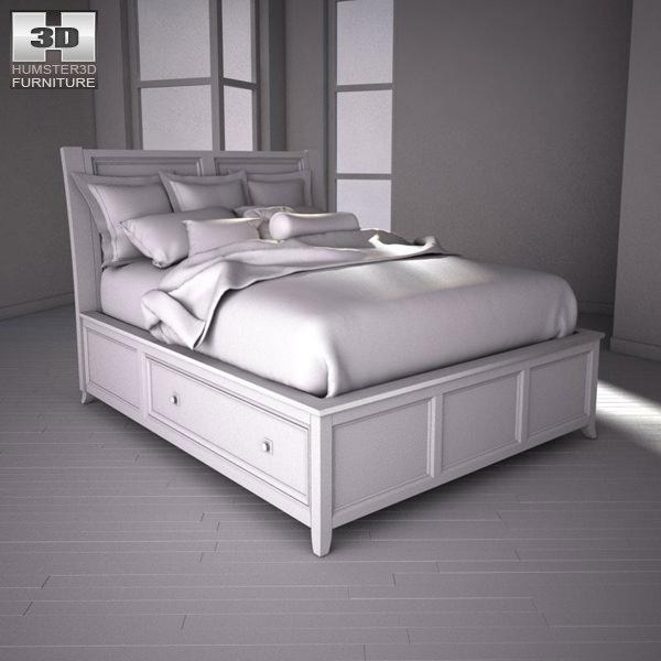 ... Ashley Martini Suite Queen Panel Headboard Bed 3d Model Max Obj 3ds Fbx  Mtl 3