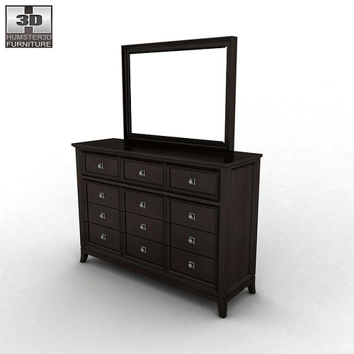 ... Ashley Martini Suite Dresser Mirror 3d Model Max Obj 3ds Fbx Mtl 2 ...