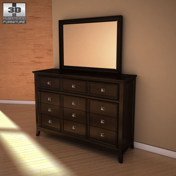 Lovely Ashley Martini Suite Dresser Mirror 3d Model Max Obj 3ds Fbx Mtl 1 ...