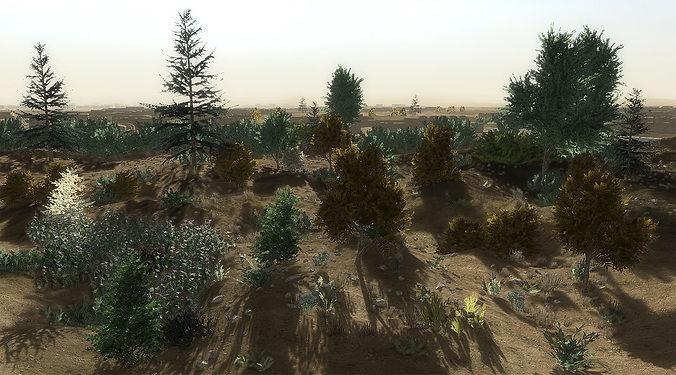 24 afghan vegetation models for games 3d model low-poly max obj 3ds fbx dae mtl 1