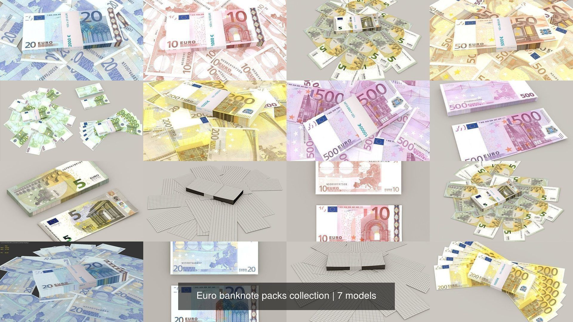 Euro banknote packs collection