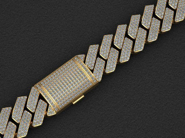 20MM CUBAN LINK CHAIN 3 ROWS DIAMOND BRACELET NECKLACE