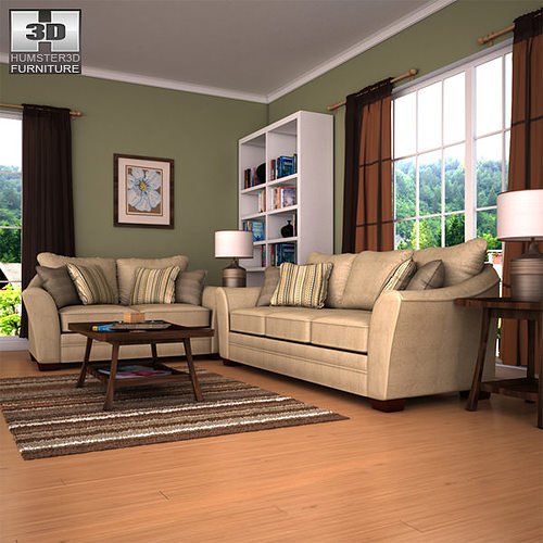 3d model ashley lena putty sofa loveseat living room set for Living room 3ds max