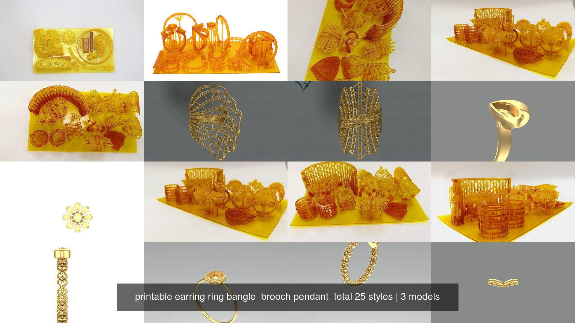 printable earring ring bangle  brooch pendant  total 25 styles