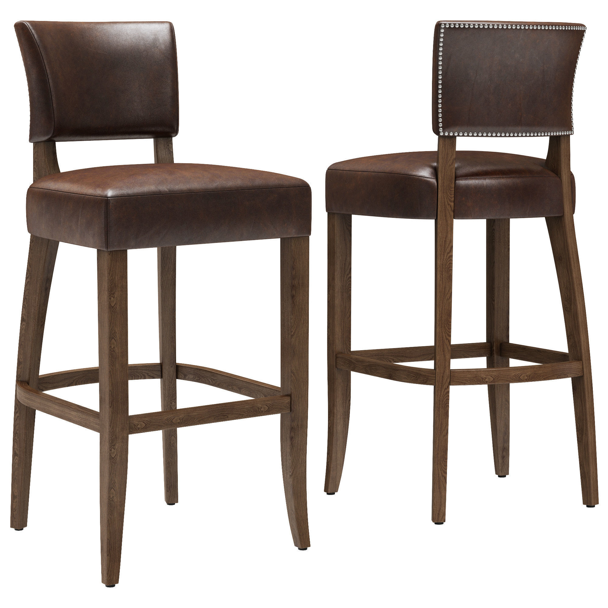 Restoration Hardware Adele Leather Stool