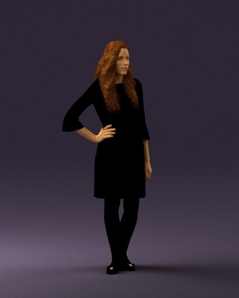 Woman in black brown hair 0453