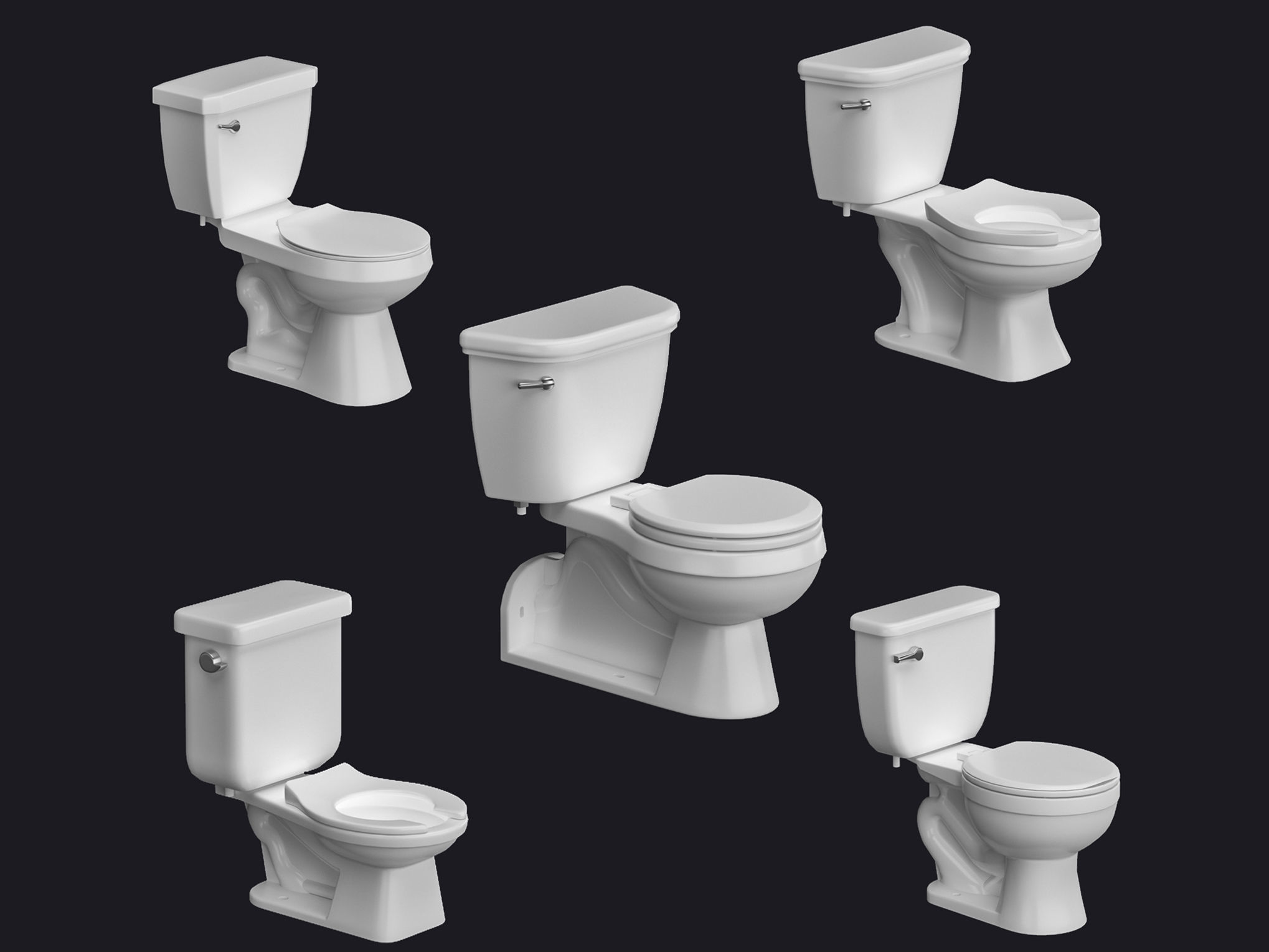 5 Toilet bowls and flash tanks