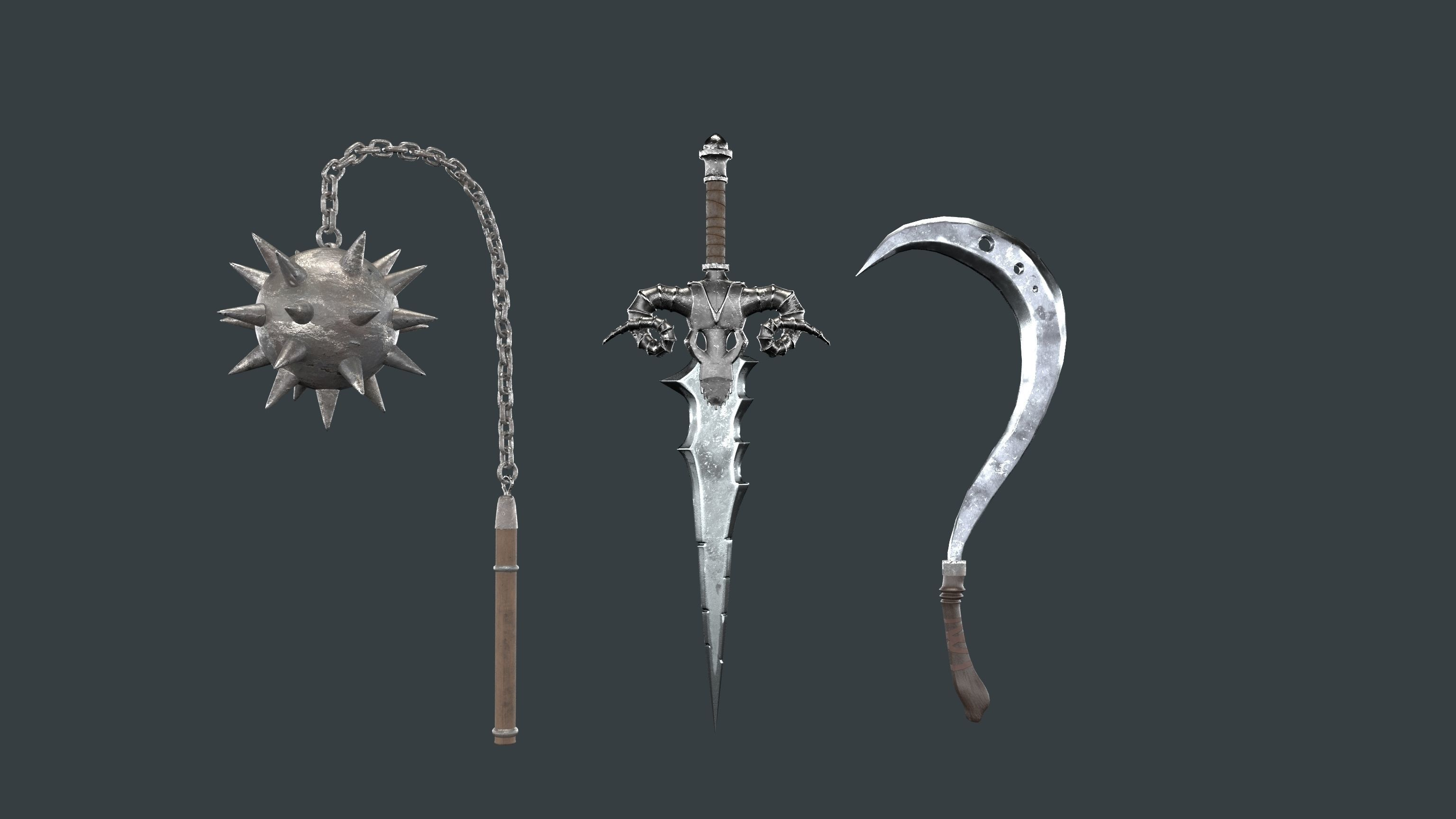 Medieval weapon set of three