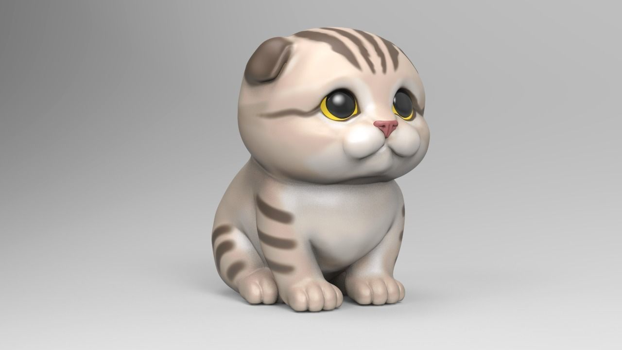 Cute Scottish Fold Kitten STL