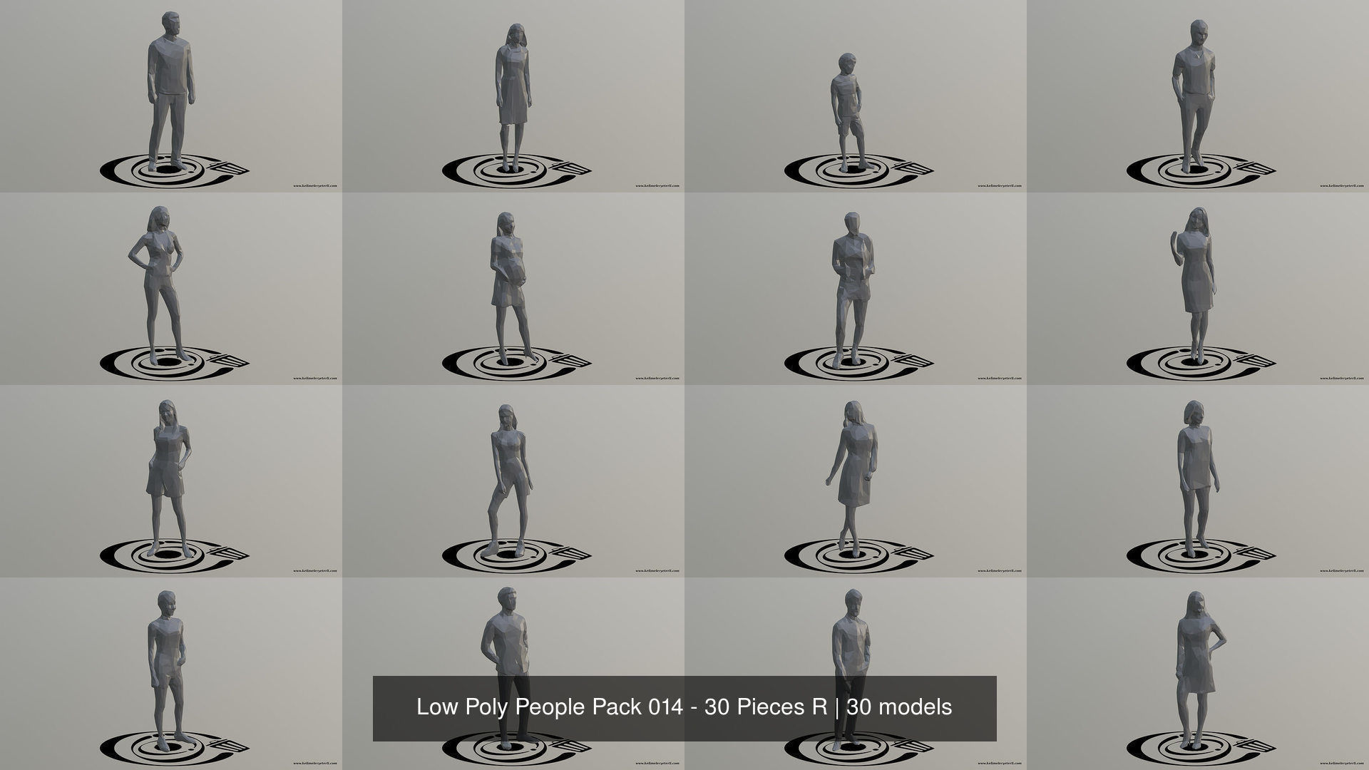 Low Poly People Pack 014 - 30 Pieces R