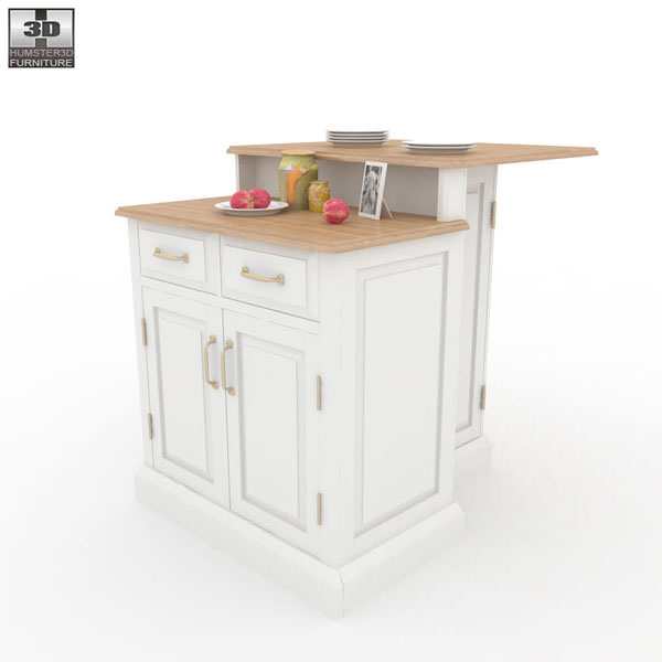 Model Woodbridge Two Tier Kitchen Island Vr Ar Low Poly Max