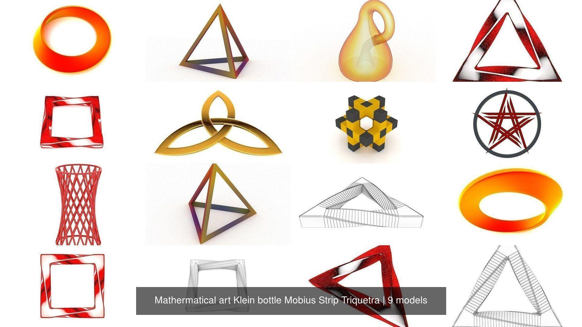 Mathermatical art Klein bottle Mobius Strip Triquetra