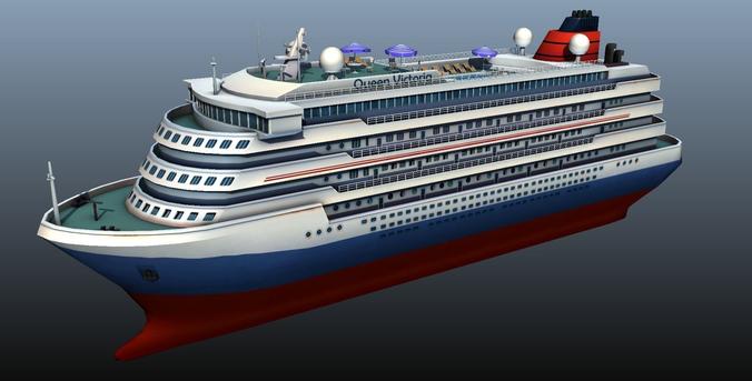 cruise liner - low poly 3d model low-poly max obj fbx ma mb mtl tga 1