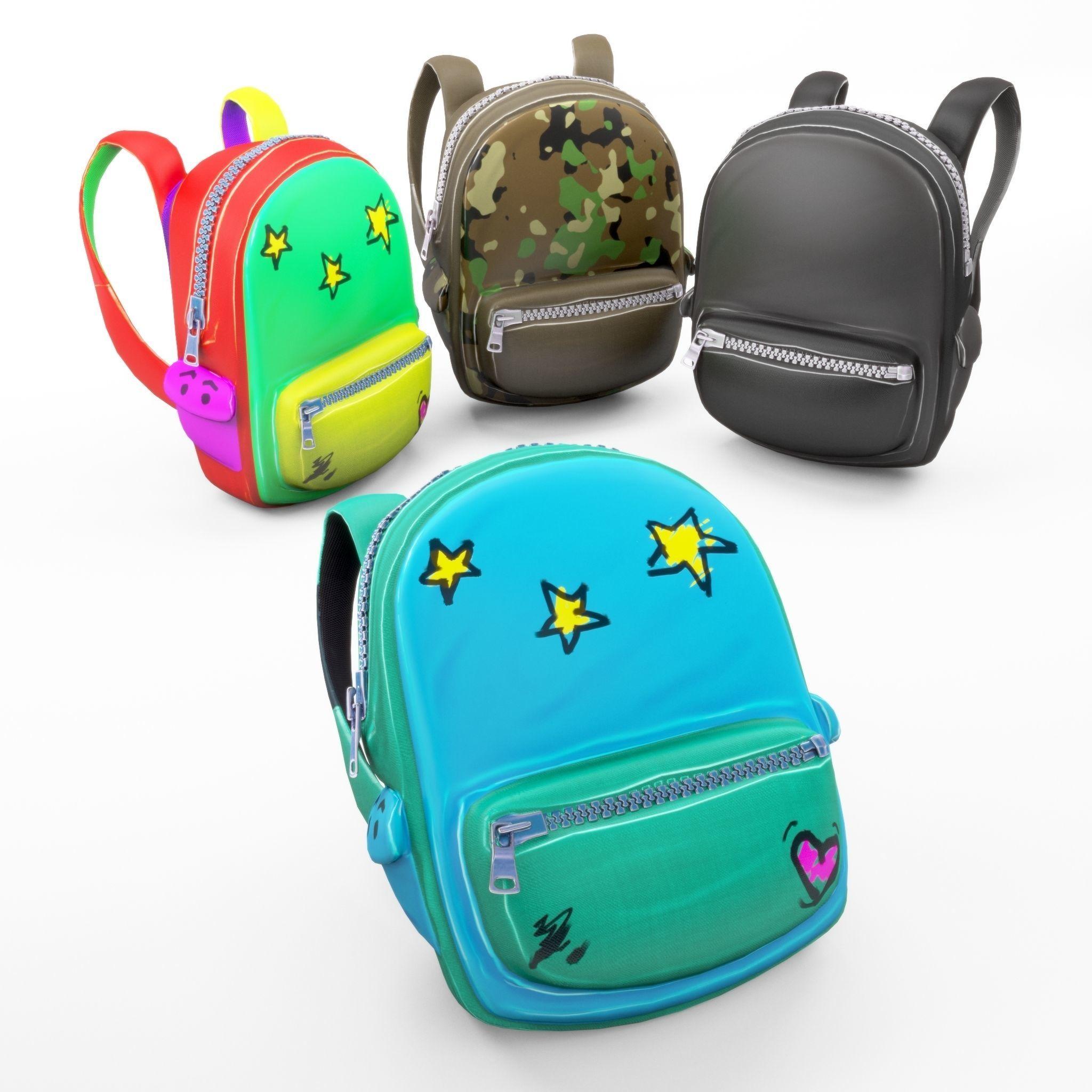 Backpack school cartoon rigged
