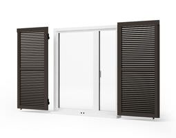 black wooden windows shutters - window shutters 72 am95 3d