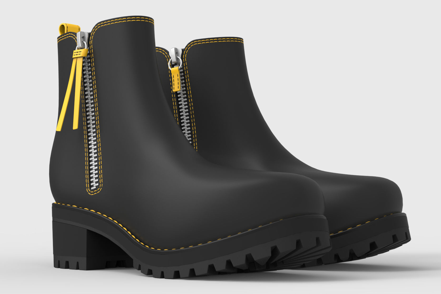 Black and Yellow boots for woman