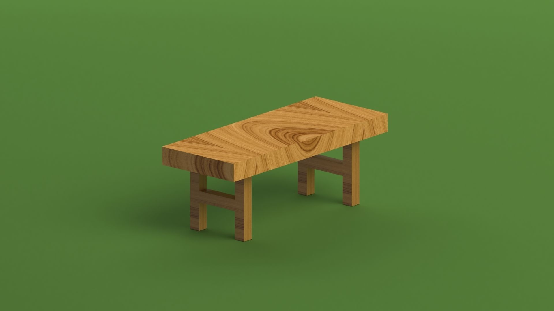 Traditional Wooden Backless Bench