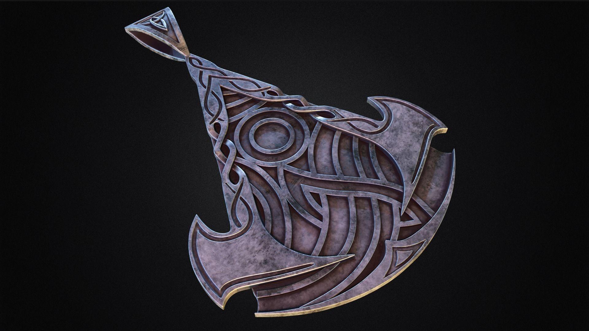 Assassins Creed Valhalla symbol Pendant - Necklace 3d model