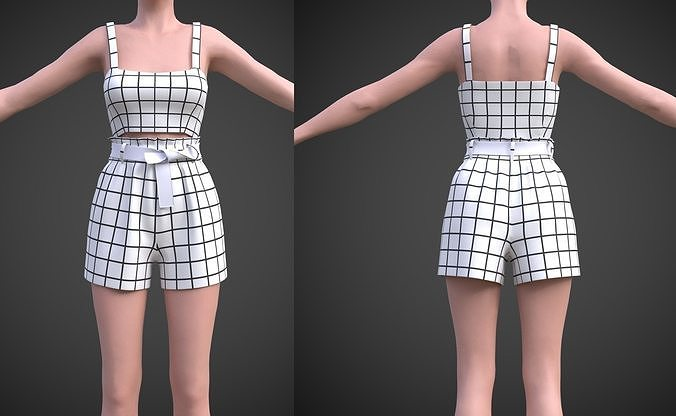 checkered two piece outfit- Plaid Cami Top And Belted Shorts
