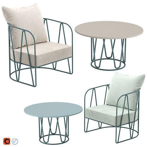 Outdoor Furniture Coffee Table  Chair Isimar Lagarto