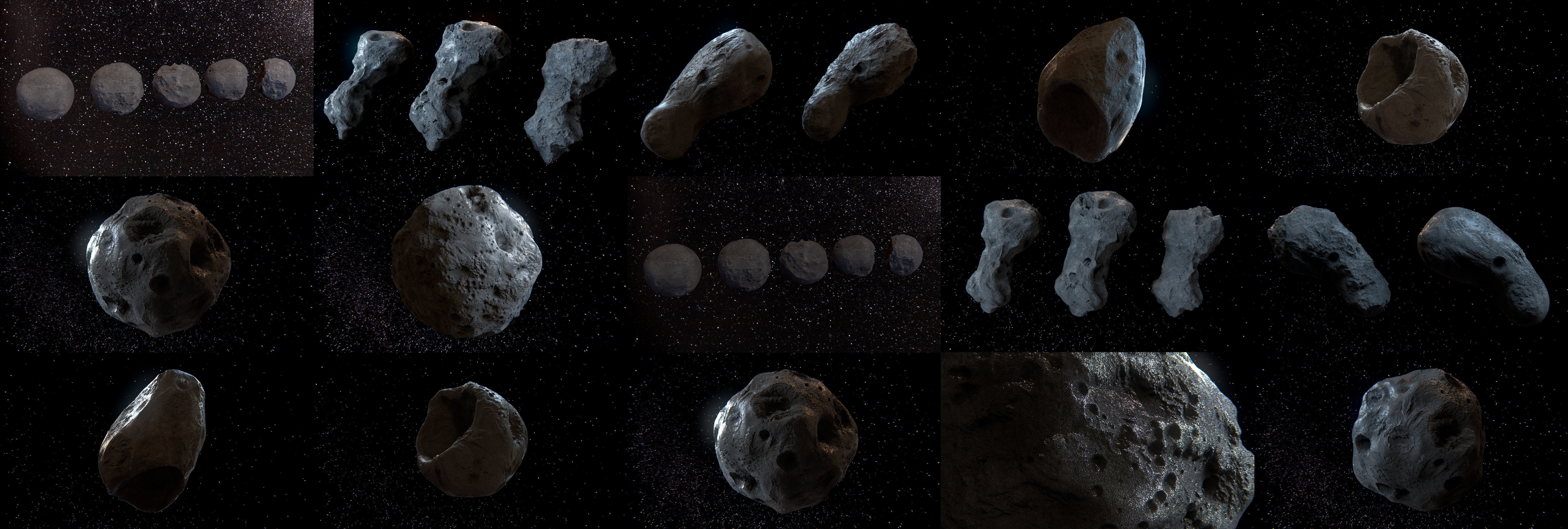 Detailed asteroids high-poly set