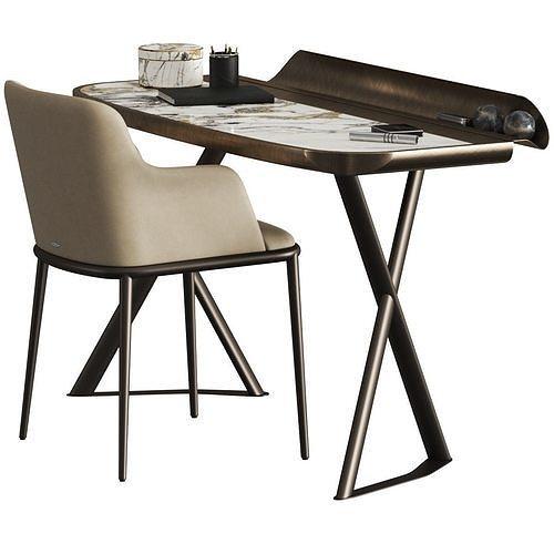 Cattelan Italia Cocoon Keramik Desk and Magda Ml Armchair