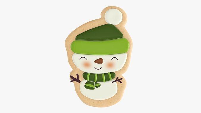 Snowman Christmas cookie 02
