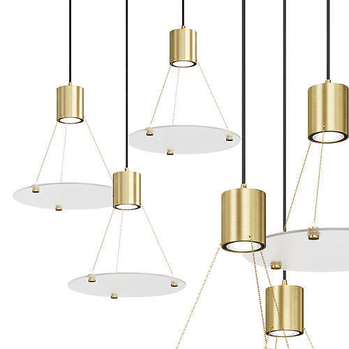 Pendant lamp with disc glass shades