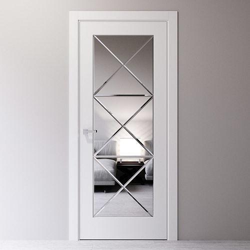 Interior door decorated with beveled mirror