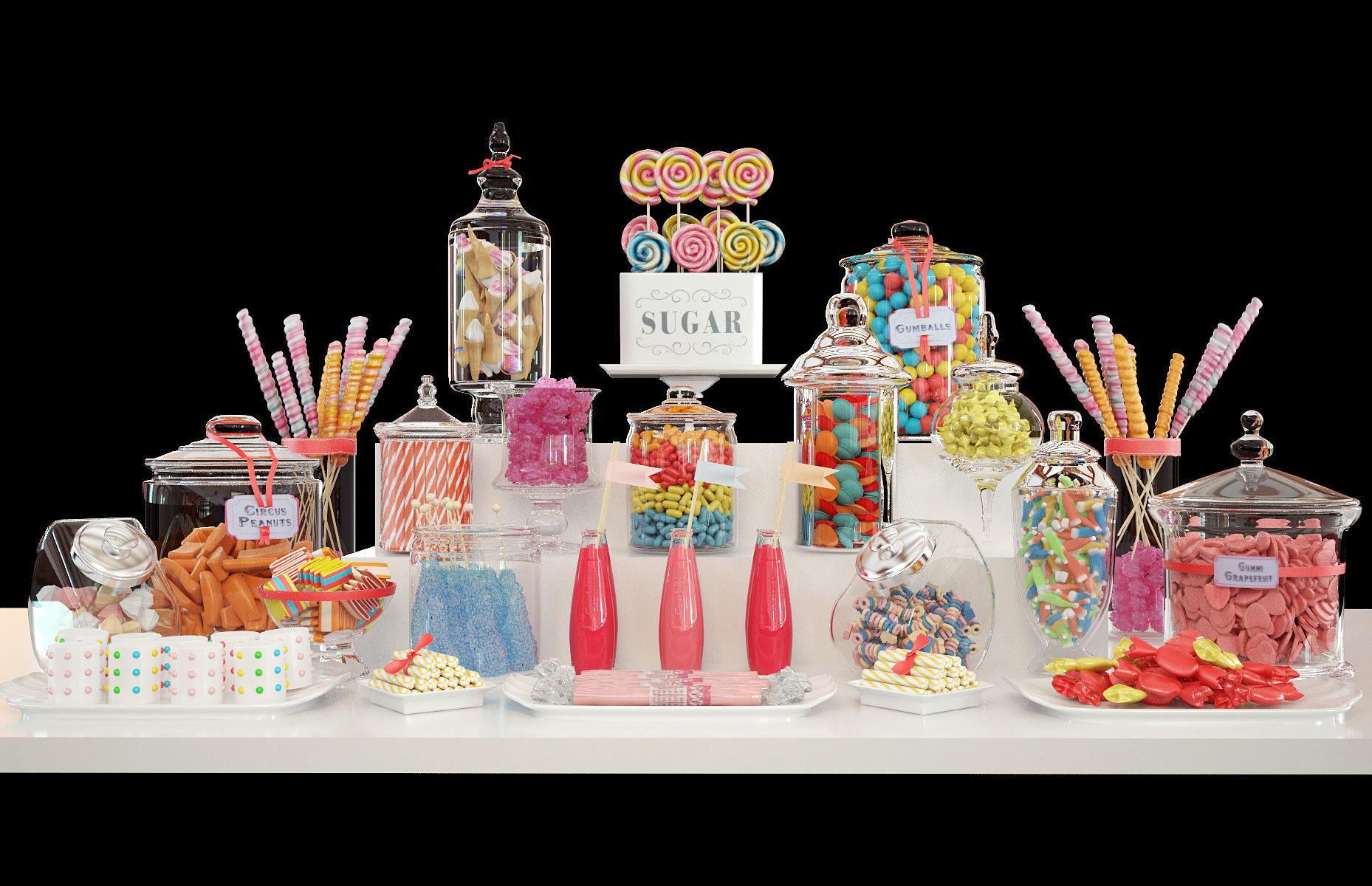 Candy bar set 3D model MAX FBX