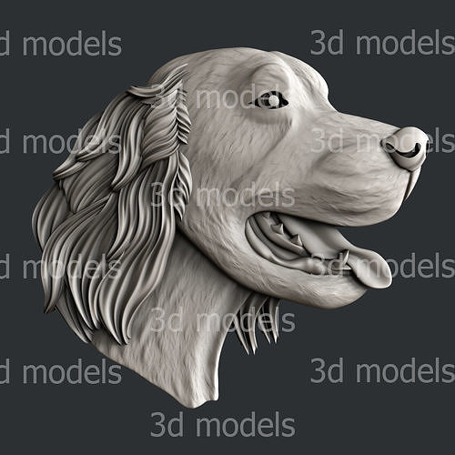 3d STL models for CNC router dog irish setter