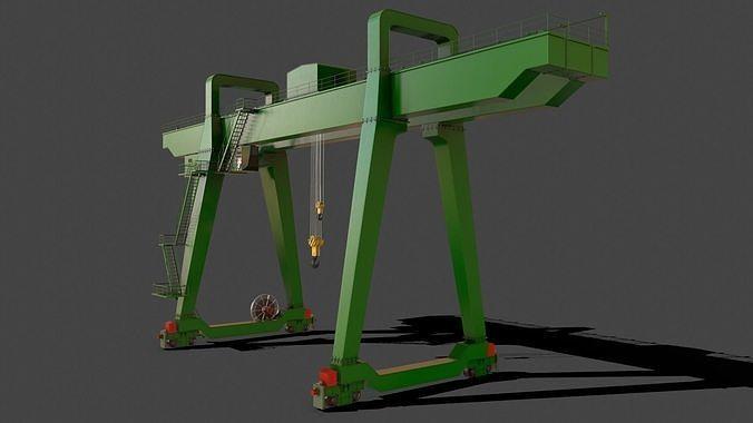 PBR Double Girder Gantry Crane V1 - Green