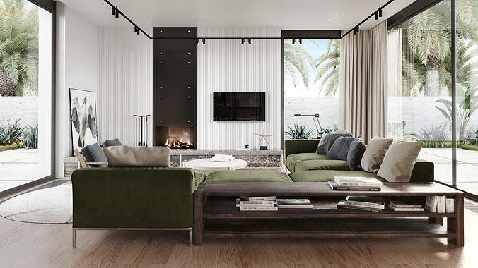 Interior design photoreal scene