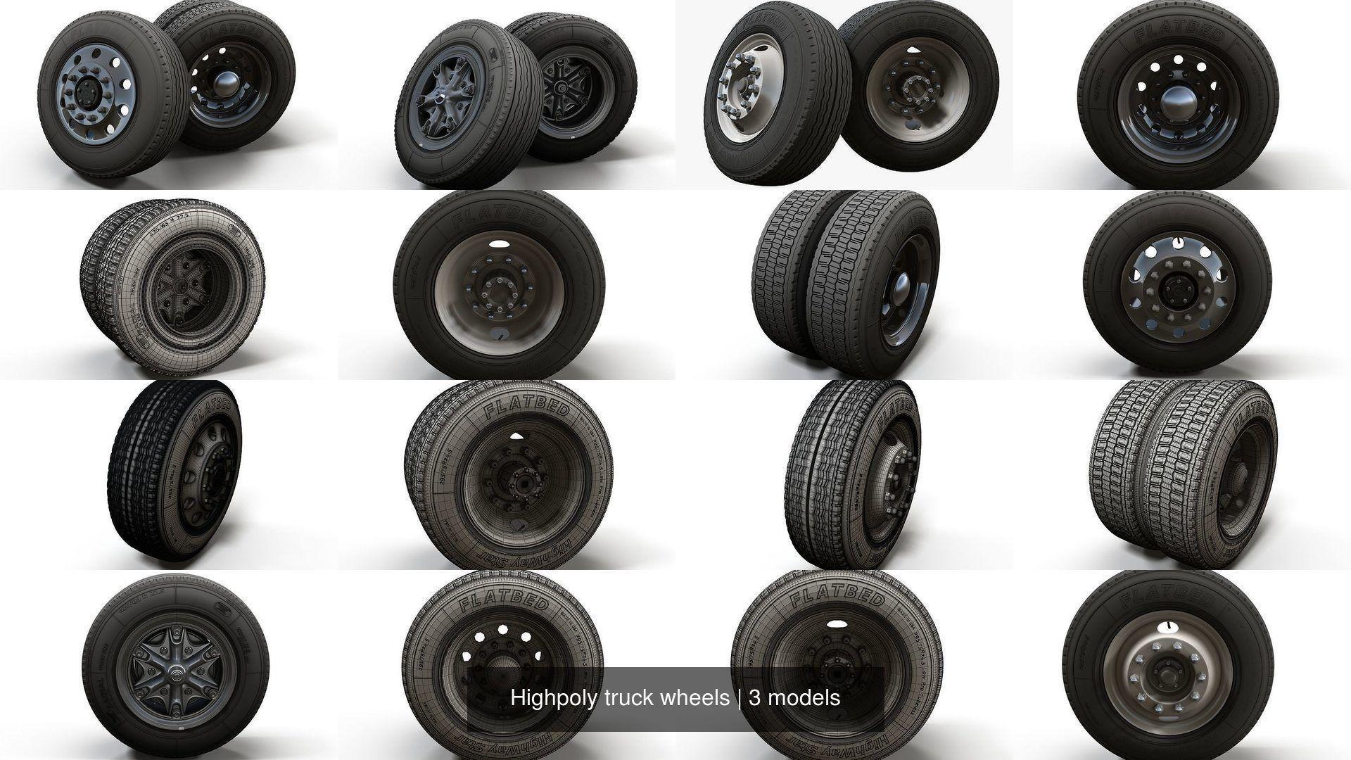 Highpoly truck wheels