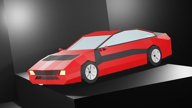 Lowpoly Sport Car - Neon Red