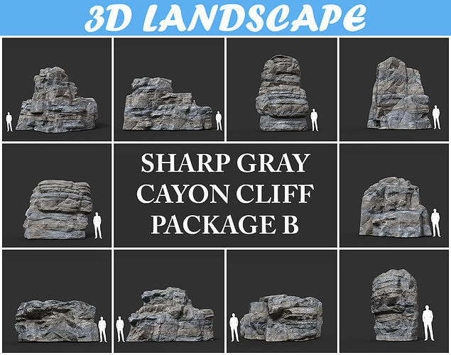 Low poly Gray Cliff Rock 200915 Pack B