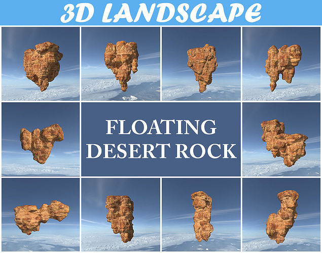 Low poly Floating Desert Rock Pack 200827