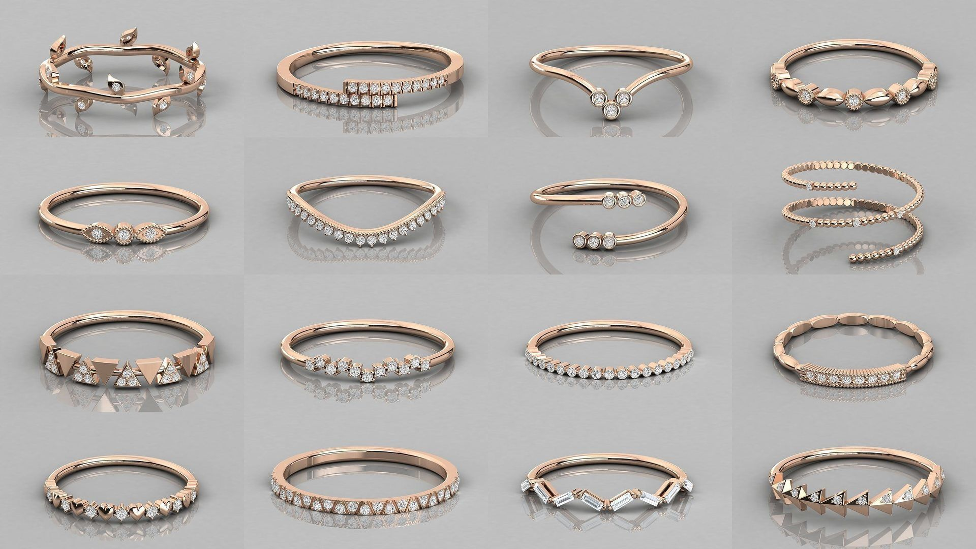 192 Women Wedding Engagement Band 3dm stl render detail