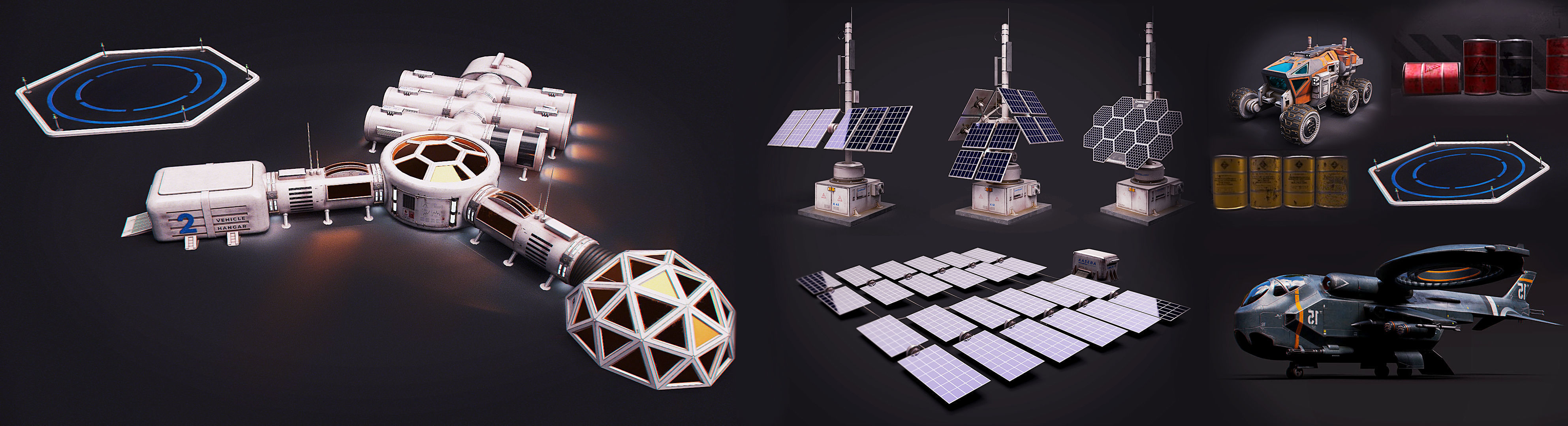 Space Craft Solar Panels Mars Colony Spaceship Collection Pack