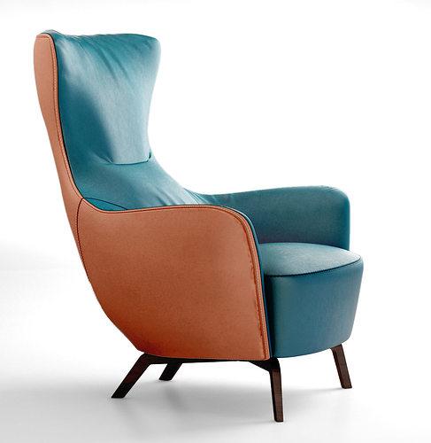 Poltrona frau italy mamy blue armchair 3d model for Poltrona 3d