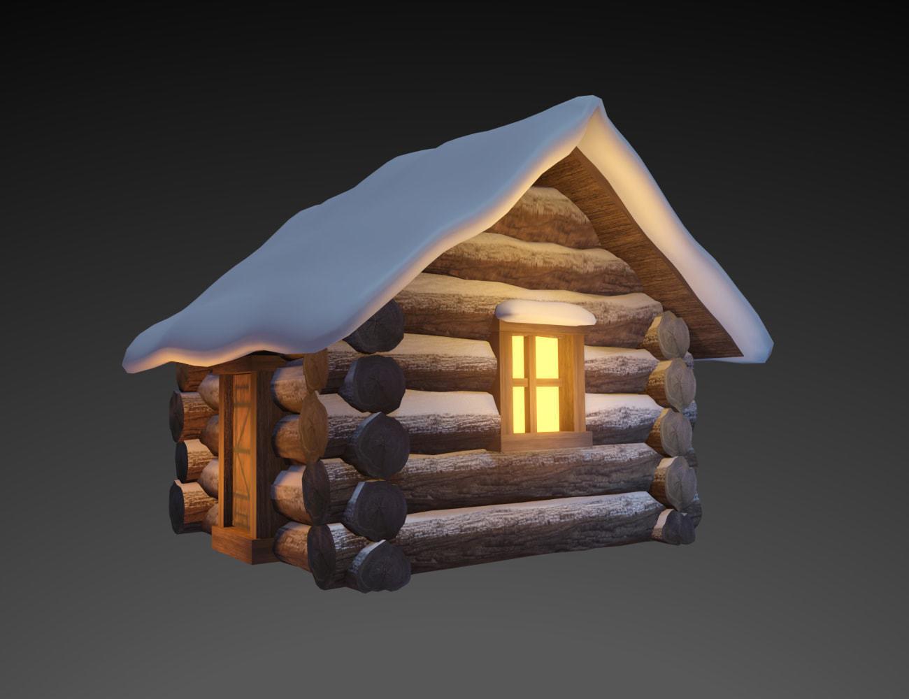 Snowy Wooden Hut