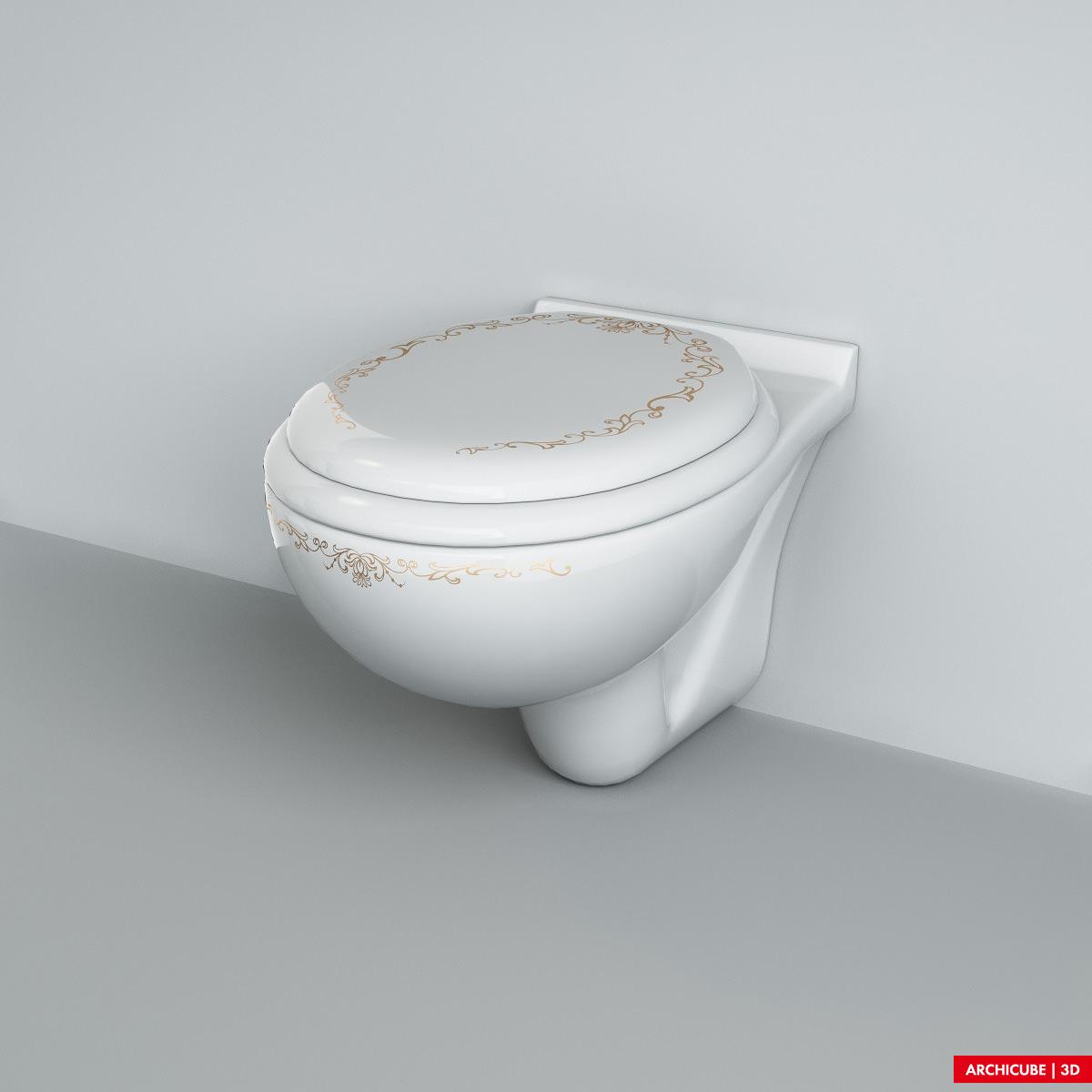 Wc toilet 02 3d model max obj fbx - Toilet model ...