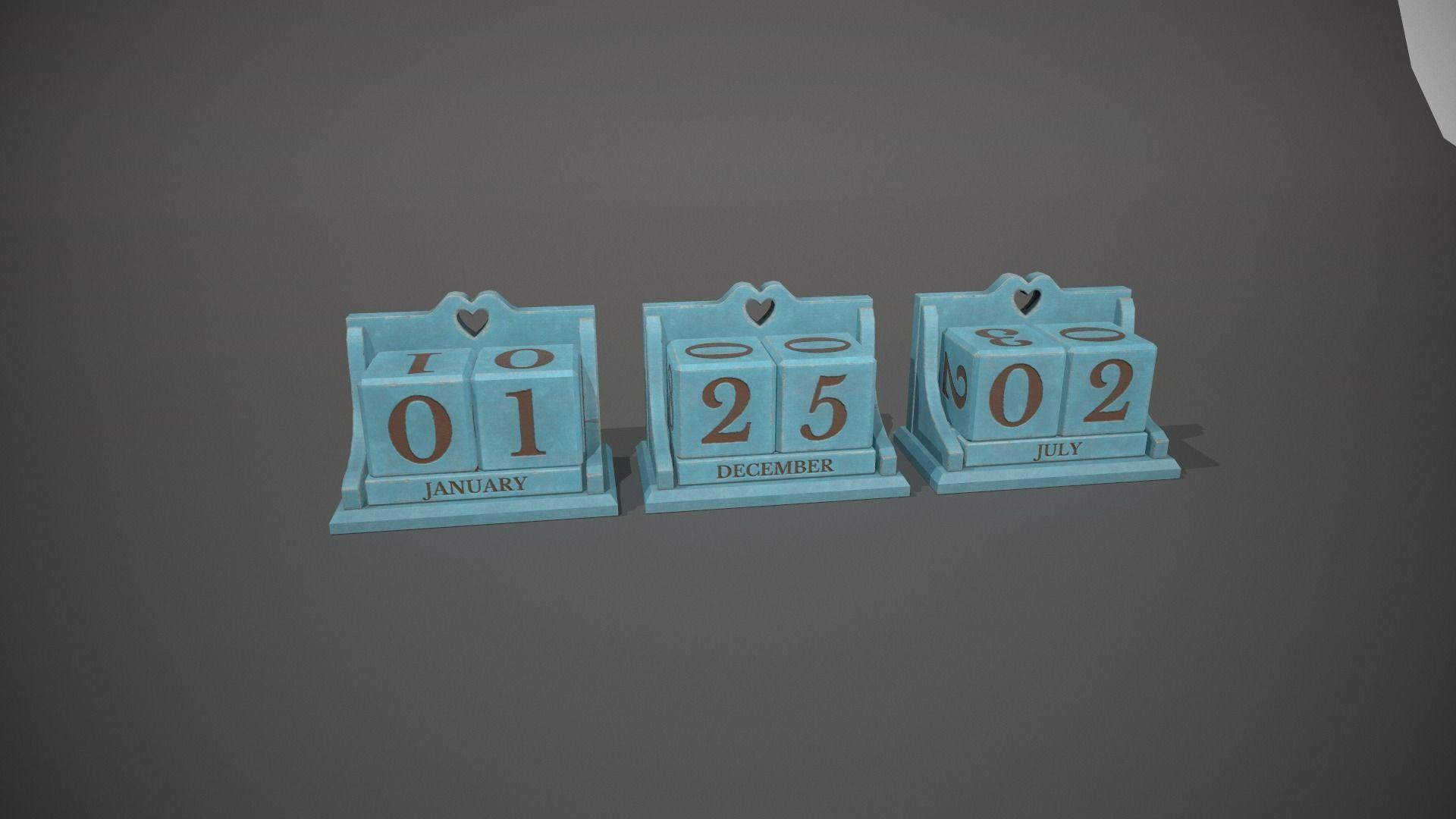 Light Blue Perpetual Wooden Block Calendar