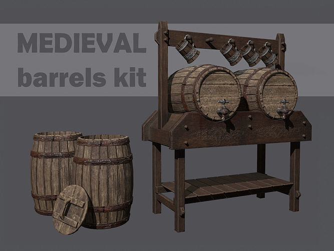 Medieval barrels and stand kit