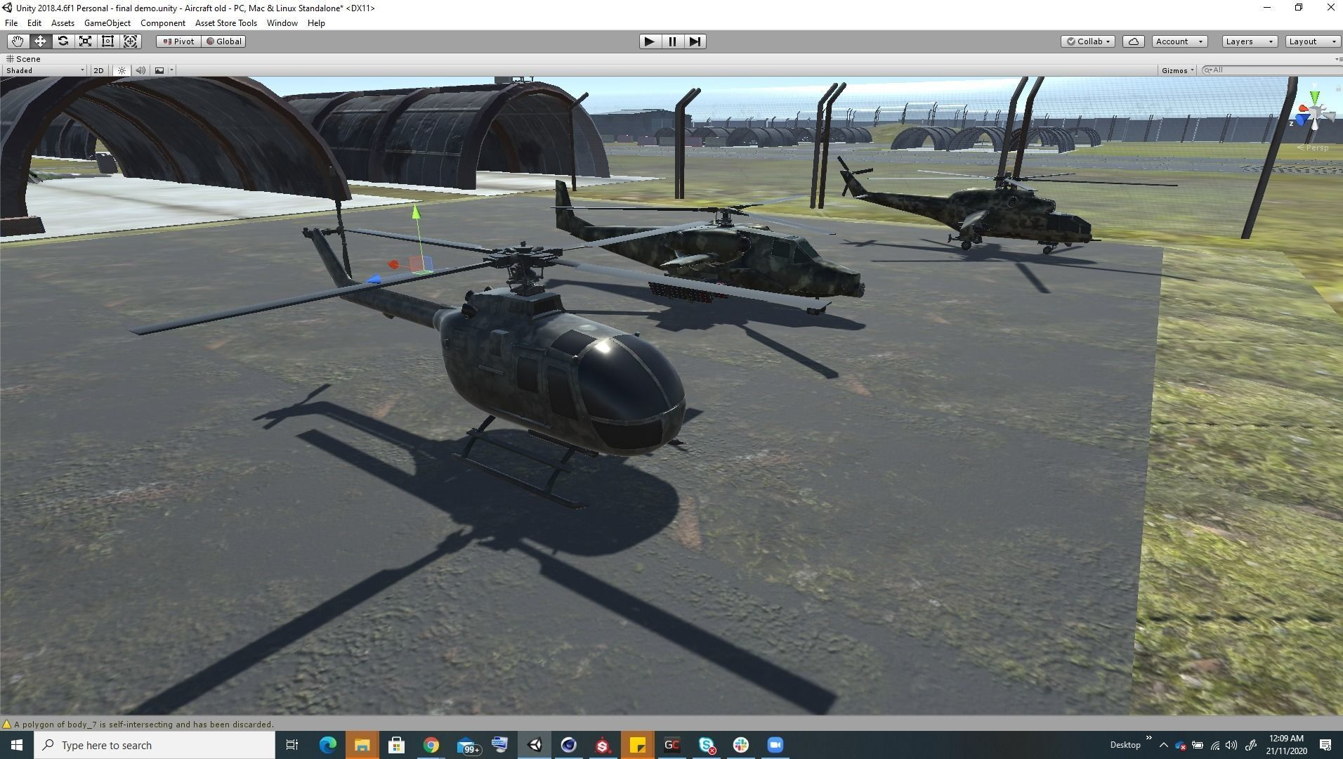 Low Poly game ready air field with helicopters and aircraft
