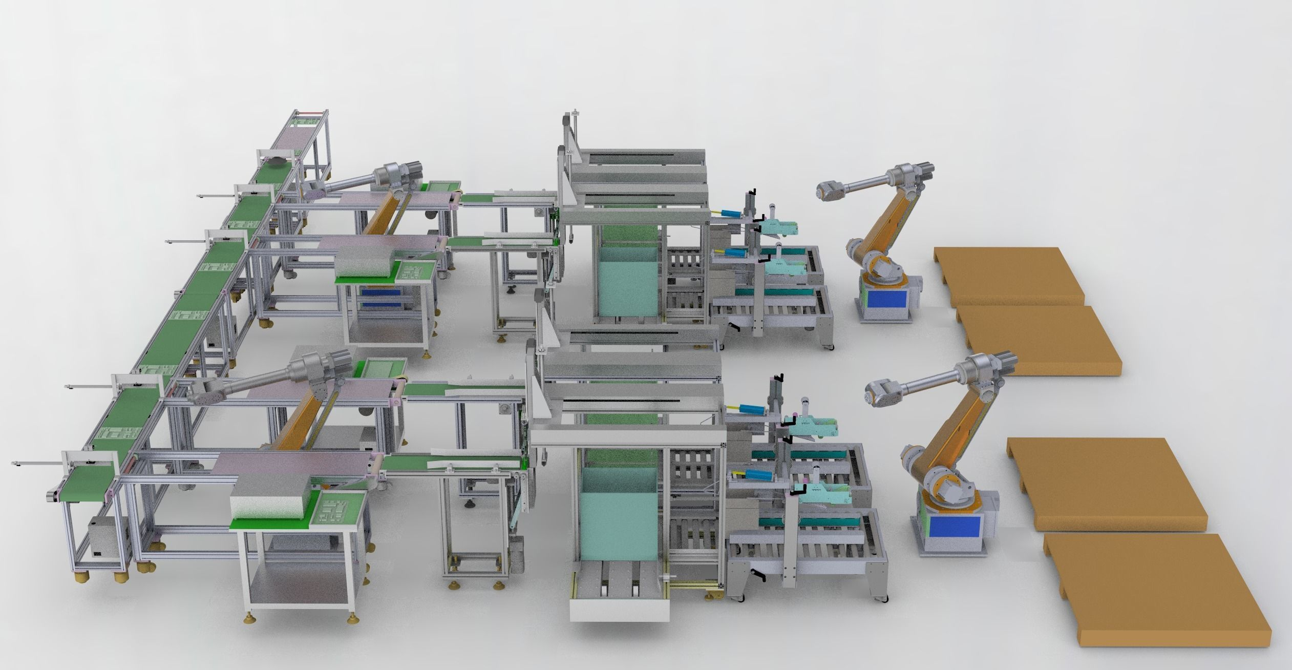 Pcb board loading package stacking conveyor line