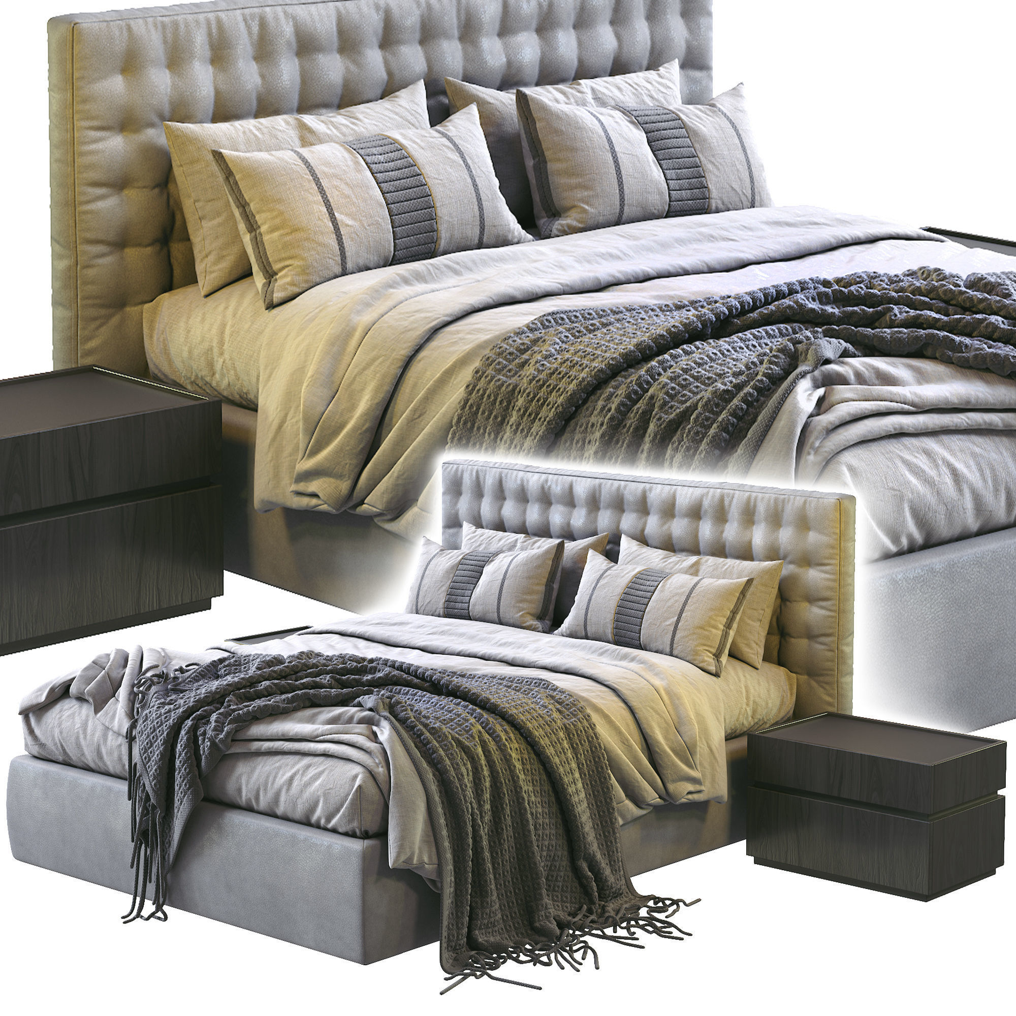 Md House Leather Bed LINE