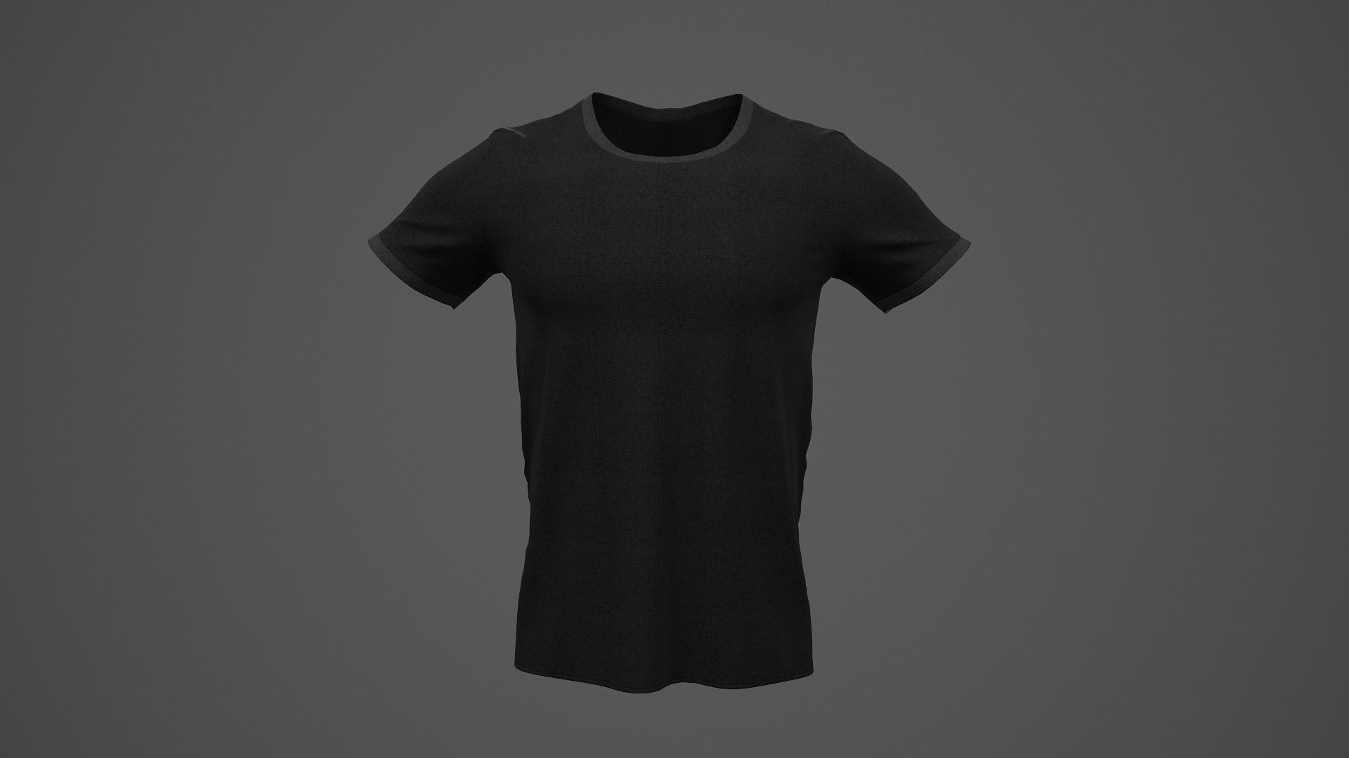 T-Shirt Male PBR Game-ready Black Color