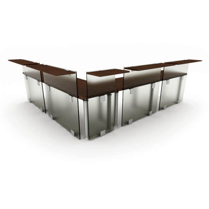 Brown office table reception desk 45 AM53 | 3D model